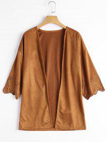 Hollow Out Faux Suede Kimono Top - Camello M