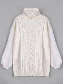 Suéter Largo Con Gargantilla - Blanco L