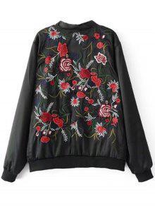 Negro Bombardero Del Floral Chaqueta Del L Bordado n4wSXx71q