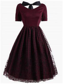 فستان كلاسيكي بونوت طباعة الأزهار منقوش دانتيل - نبيذ أحمر M