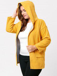 زائد حجم ضرب اللون طويل معطف مقنعين - الأصفر 4xl