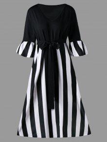 Más De Talla De Rayas Corbata Vestido De Longitud De Té Cinturón - Rayas Negras 4xl