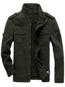 Epaulet Design Zip Up Patch Jacket - Vert Olive   L