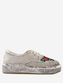 حذاء مخملي مطرز ذو نعل سميك مزين باللؤلؤ المزيف - مشمش 39