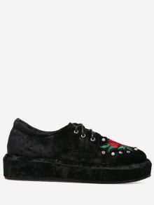 حذاء مخملي مطرز ذو نعل سميك مزين باللؤلؤ المزيف - أسود 40