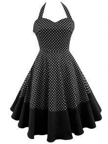 فستان رباط البولكا نقطة رسن كلاسيكي - أسود M