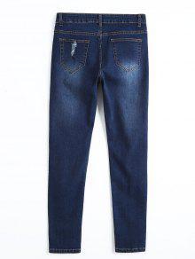 zerrissene d nne bleistift jeans denim blau jeans l zaful. Black Bedroom Furniture Sets. Home Design Ideas