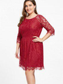 Knee Length Plus Size Lace Formal Dress
