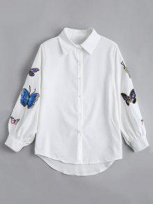 بلوزة مطرز بنمط الفراشة مريح نفخة الأكمام - أبيض Xl
