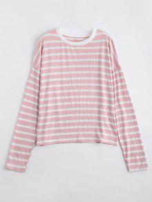 Camiseta De Manga Larga Rayada Hombro Gota - Rosado Claro Xl