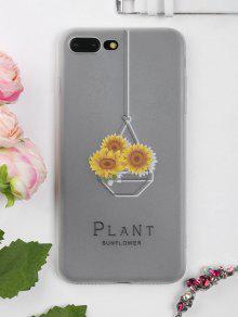 Caso Do Telefone Do Teste Padrão Do Girassol Para Iphone - Branco Transparente Para Iphone 7 Plus
