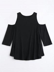Camiseta De Túnica Larga De Hombro Frío - Negro Xl