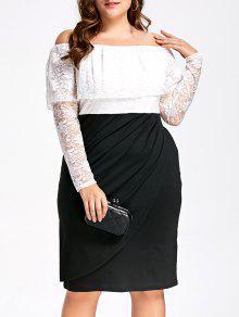 فستان رسمي دانتيل الحجم الكبير بلا اكتاف - أبيض وأسود Xl
