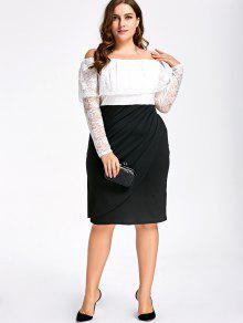 Lace Plus Size Off Shoulder Formal Dress WHITE AND BLACK: Plus ...