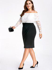 lace plus size off shoulder formal dress white and black: plus