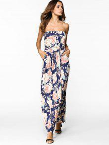 فستان بلا حمالات ماكسي طباعة الأزهار - الأزهار S