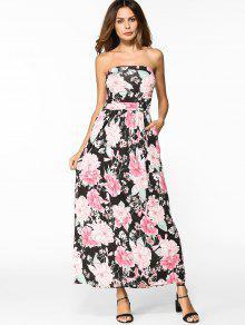 Vestido Con Estampado Floral De Alta Cintura - Floral M