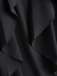 233;trico Trinchera Asim Abrigo Abierto Negro De Frente L Xfqqda