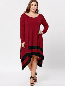 plus size long sleeve asymmetric dress black&red: plus size