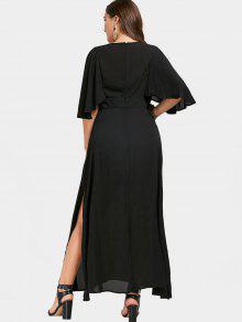 a9efc8e99a947 35% OFF] 2019 Applique Plunging Neck Plus Size Maxi Dress In BLACK ...
