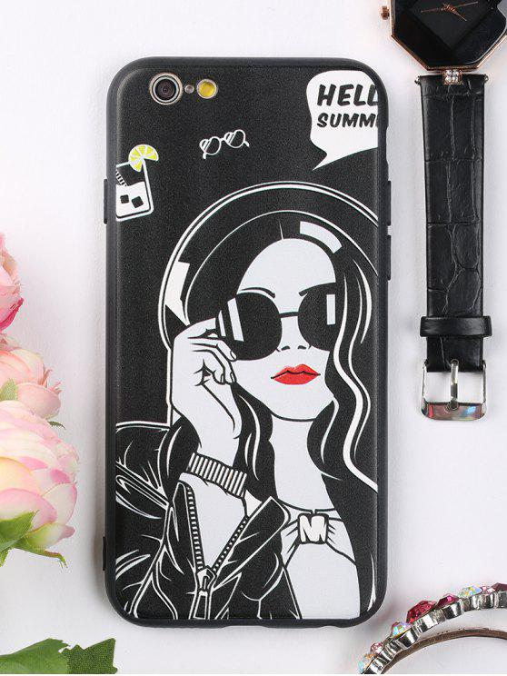 women Cool Girl Pattern Cell Phone Case For Iphone - BLACK FOR IPHONE 6 / 6S