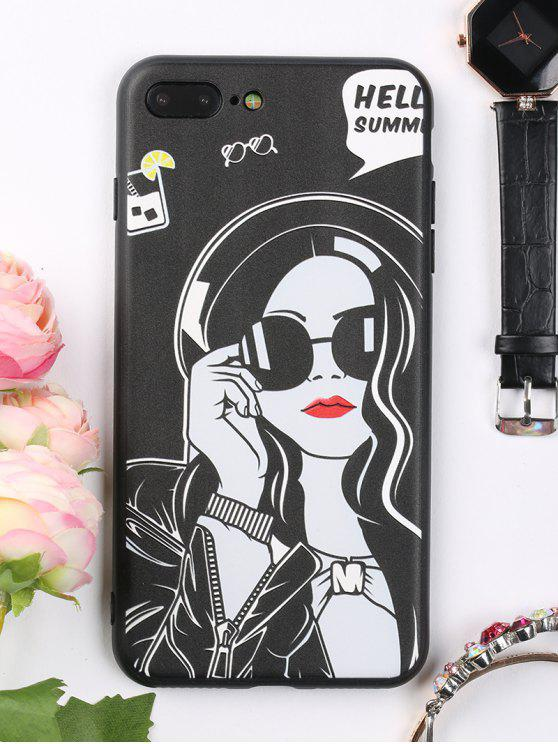 lady Cool Girl Pattern Cell Phone Case For Iphone - BLACK FOR IPHONE 7 PLUS