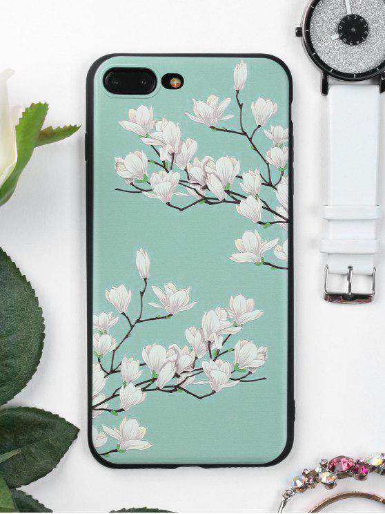 غطاء الهاتف ناعم بنمط شجرة وأزهار للابل ايفون - أخضر ل IPHONE 7 PLUS
