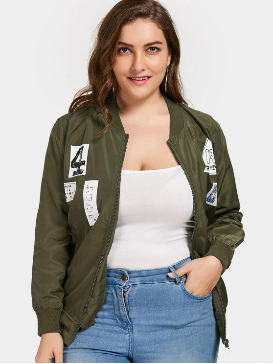fancy Plus Size Graphic Bomber Jacket - ARMY GREEN 4XL