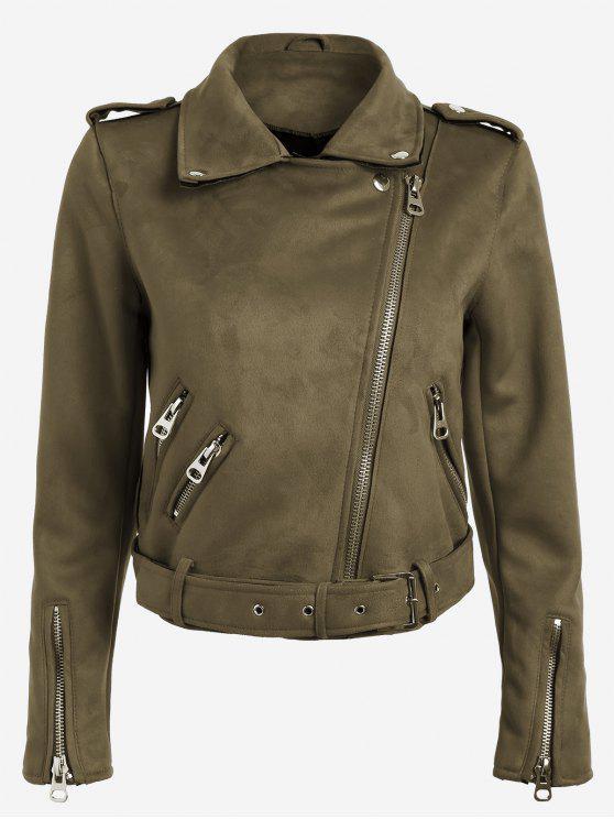 women's Lapel Zipper Pockets Suede Jacket - COFFEE L