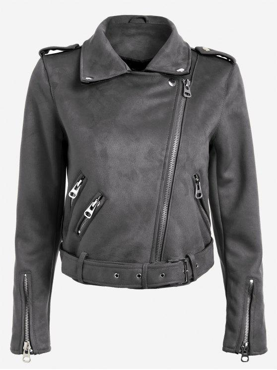 online Lapel Zipper Pockets Suede Jacket - GRAY L