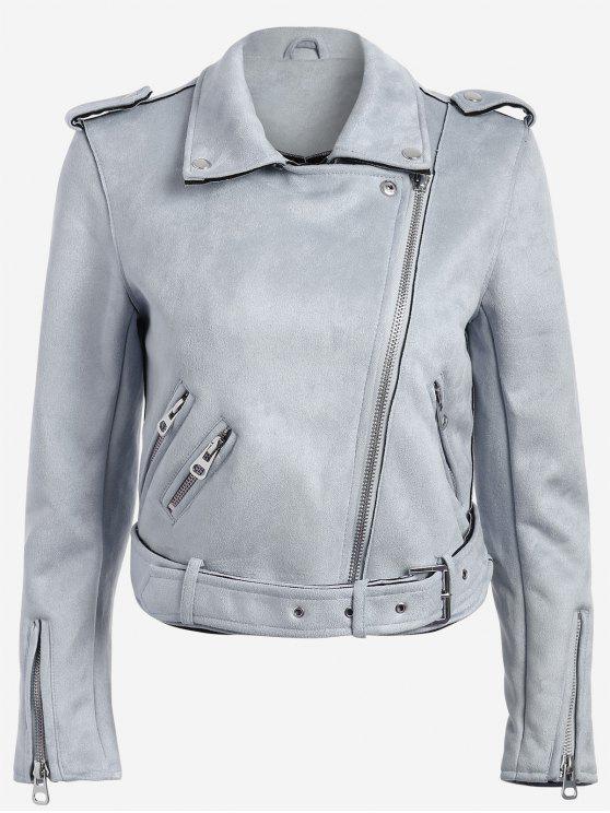 outfits Lapel Zipper Pockets Suede Jacket - BLUE GRAY L