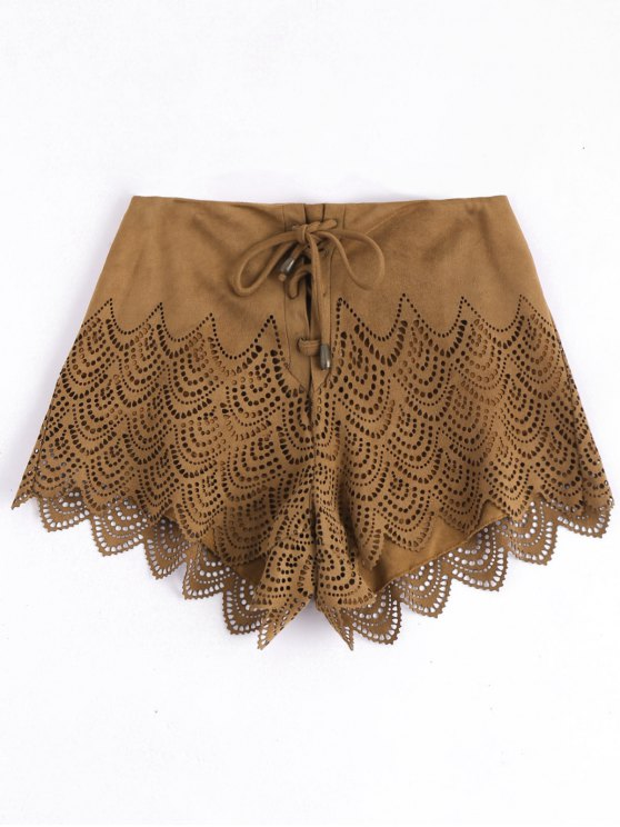 lady Laser Cut Lace-up Suede Shorts - CAMEL M