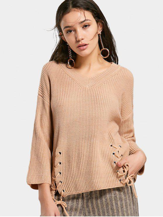 fashion Lace Up V Neck Chunky Sweater - KHAKI ONE SIZE eef8286f9