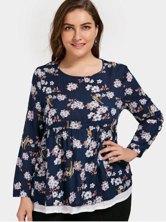hot Plus Size Floral Babydoll Top - DEEP BLUE 3XL