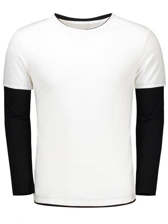 trendy Long Sleeve Color Block T Shirt - WHITE XL