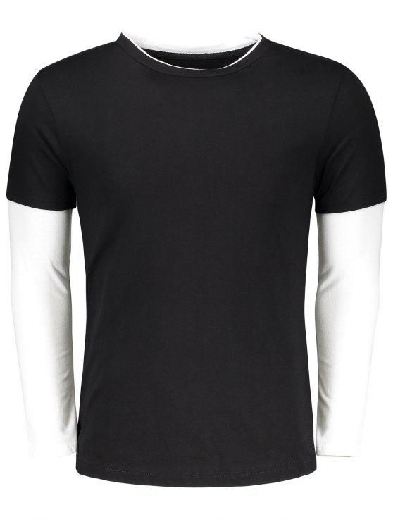 chic Long Sleeve Two Tone T Shirt - BLACK 2XL