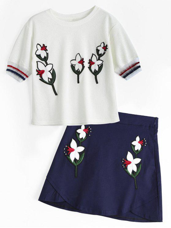 women's Voile Panel Floral Patches Top and Beaded Mini Skirt - WHITE L