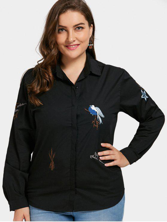 women Plant Embroidered Plus Size Shirt - BLACK 3XL