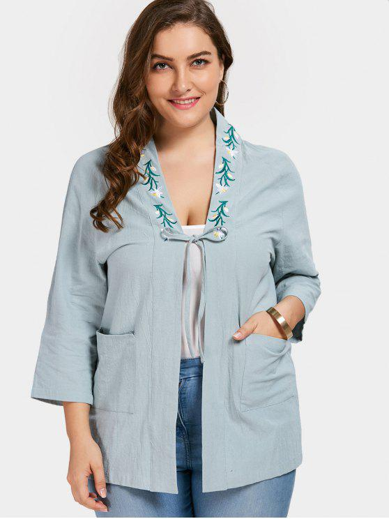 sale Plus Size Flower Embroidered Kimono - PEA GREEN 3XL