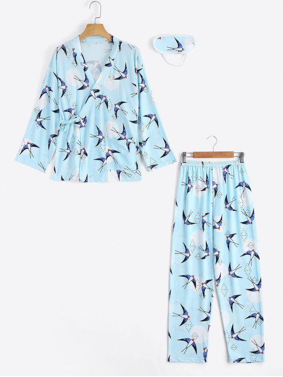 best Loungewear Swallow Print Wrap Top with Pants - LIGHT BLUE XL