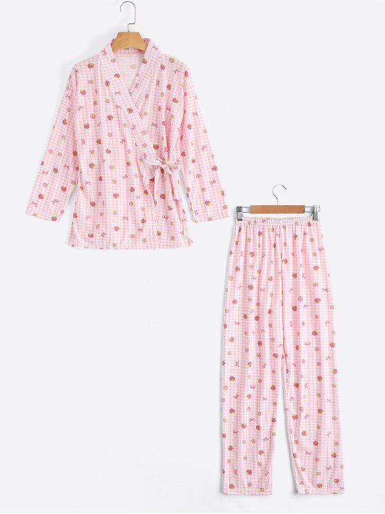 unique Plaid Strawberry Kimono with Pants Loungewear - PINK M