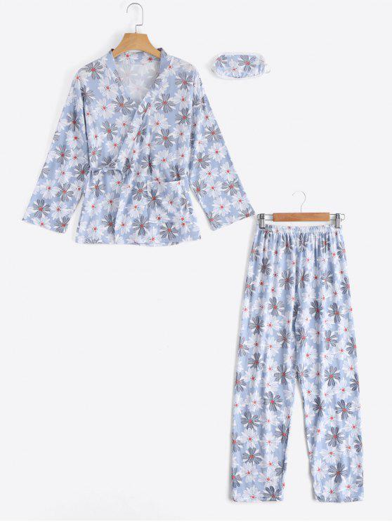 بلوزة وسروال مزينين بطبعة أزهار - أزرق فاتح XL