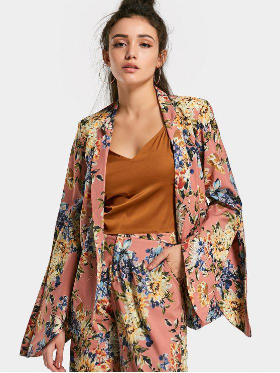 lady Open Sleeve Floral Blazer - FLORAL L