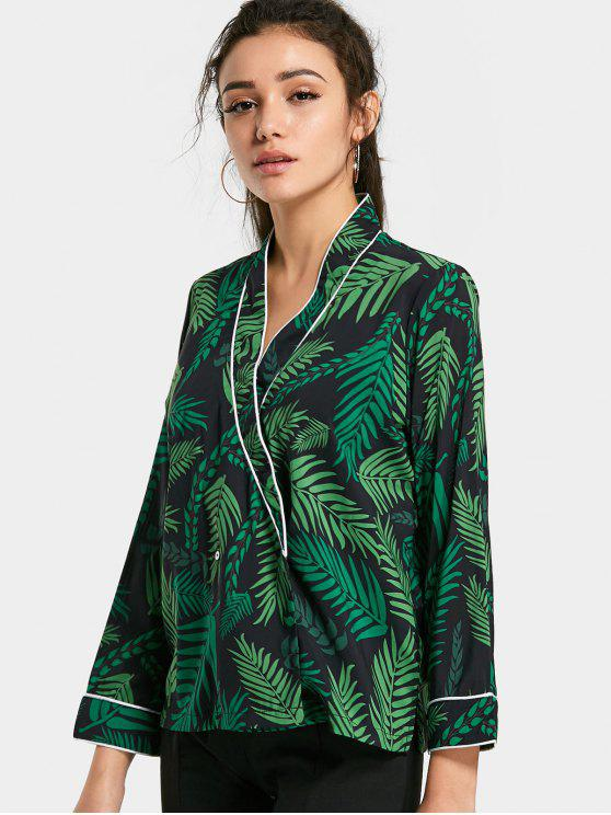 best Crossed Front Tropical Print Blouse - GREEN S