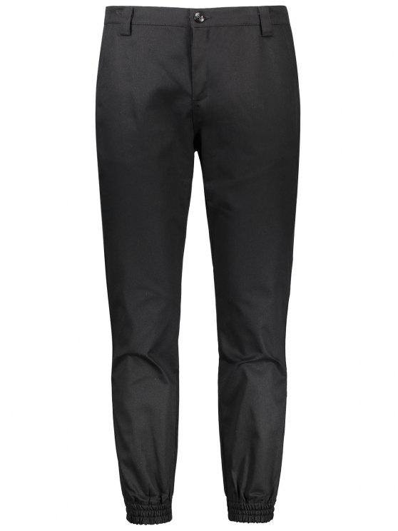 womens Patched Zipper Fly Jogger Pants - BLACK 2XL