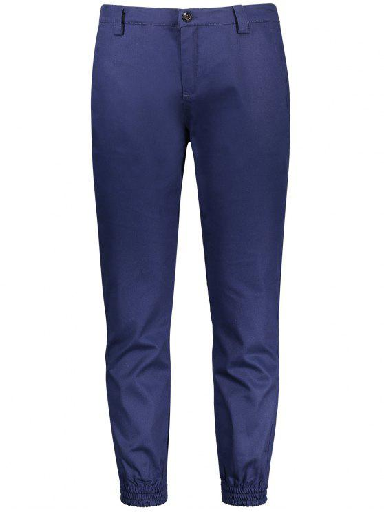 women's Zipper Fly Patched Jogger Pants - BLUE 2XL
