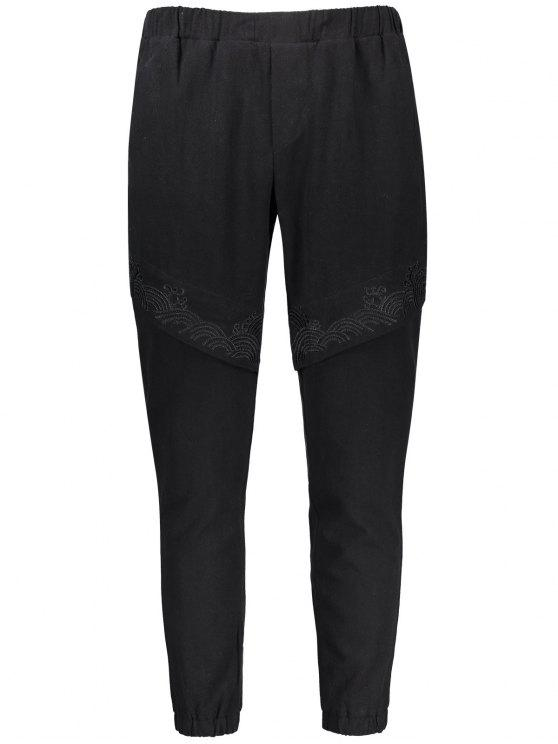 hot Casual Embroidered Elastic Waist Pants - BLACK 4XL
