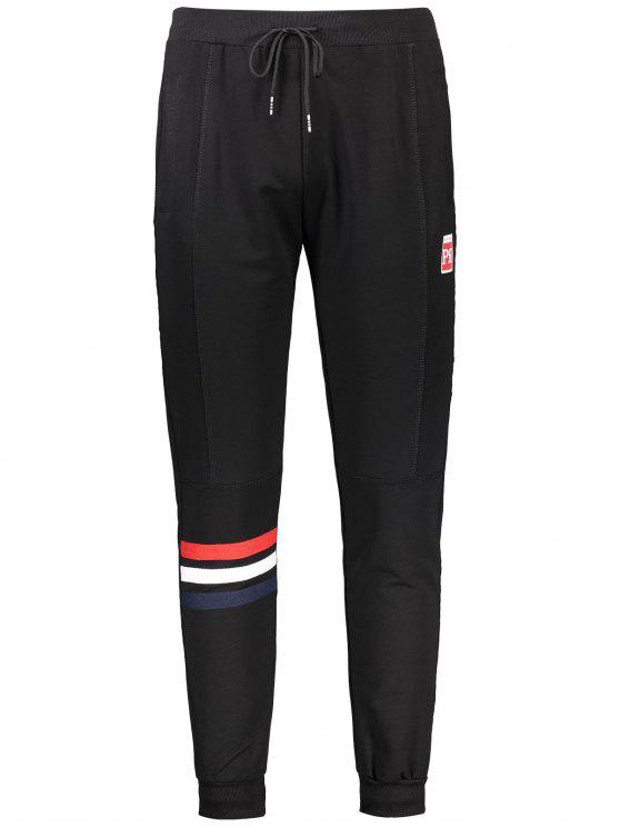 shops Drawstring Striped Sporty Jogger Pants - BLACK 3XL