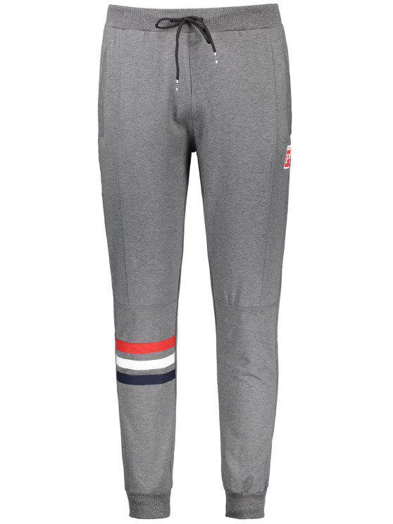 chic Drawstring Striped Sporty Jogger Pants - GRAY 2XL