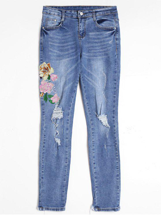 women Floral Embroidered Ripped Frayed Hem Jeans - BLUE XL